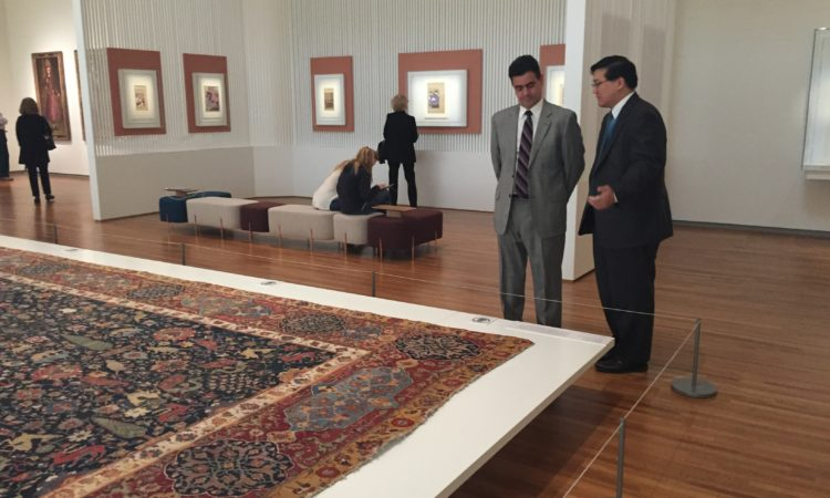 Consul General Juan Alsace tours the Aga Khan Museum with Museum Director Henry Kim.