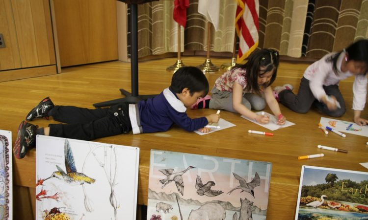 Kids hard at work on their Earth Day art contest entries at the Ponyo film screening.