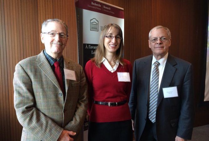 Dr. Morse (right) with energy expert Stephen Blank and uOttawa professor Monica Gattinger.