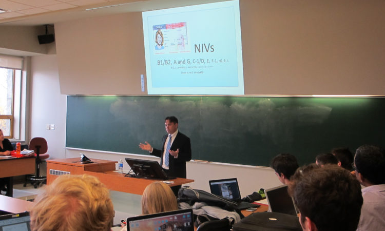 Consul Michael Hackett at the University of Laval.