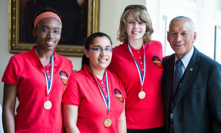 "NASA Administrator Charles Bolden with Team Rocket Power, an all-girl engineering team that participated in the 2014 White House Science Fair. ""Team Rocket Power"" was one of 100 teams that qualified for last year's Team America Rocketry Challenge (TARC)."