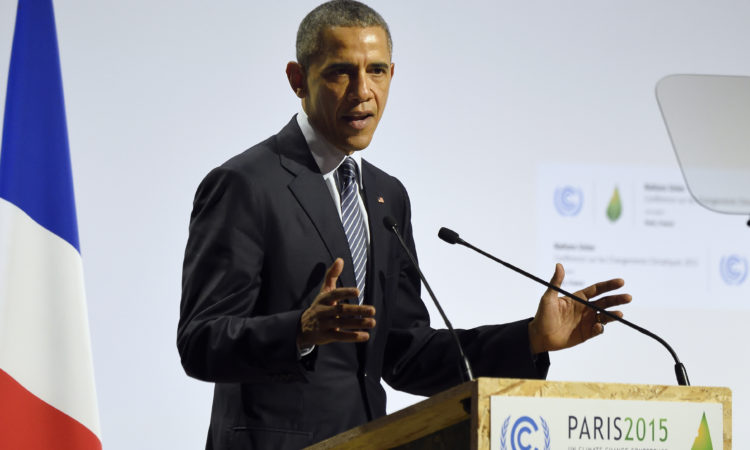 President Obama delivers a speech at COP21, the United Nations Climate Change Conference in Paris. (© AP Images)
