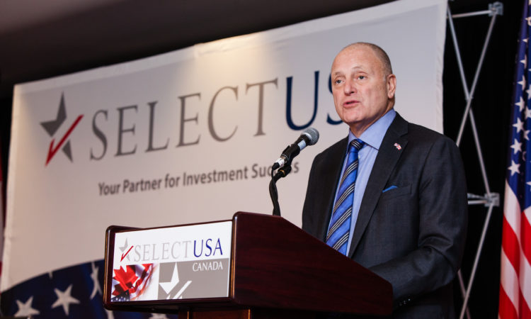 Ambassador Bruce Heyman delivers the luncheon keynote at the SelectUSA Canada Conference.
