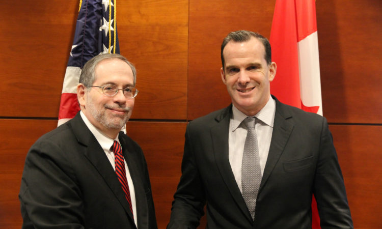 Chargé d'affaires Richard Sanders welcomes Special Presidential Envoy Brett McGurk to Canada.