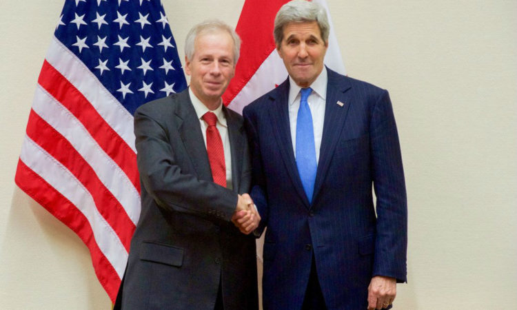 Secretary of State John Kerry meets with Canadian Foreign Minister Stephane Dion in Brussels.