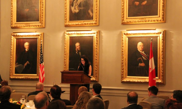 Vicki Heyman introduces Ambassador Bruce Heyman at the Second Annual U.S. Thanksgiving Dinner of The American Chamber of Commerce in Canada.