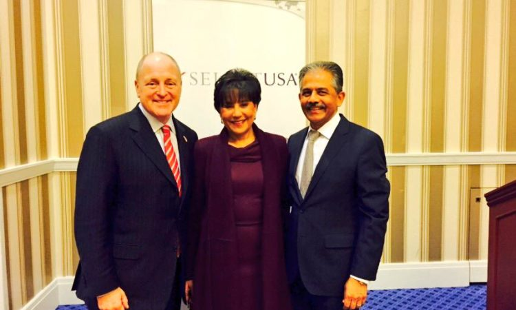 Ambassador Heyman at the 2015 SelectUSA Summit in Washington with Commerce Secretary Penny Pritzker and SelectUSA Executive Director Vinai Thummalapally.