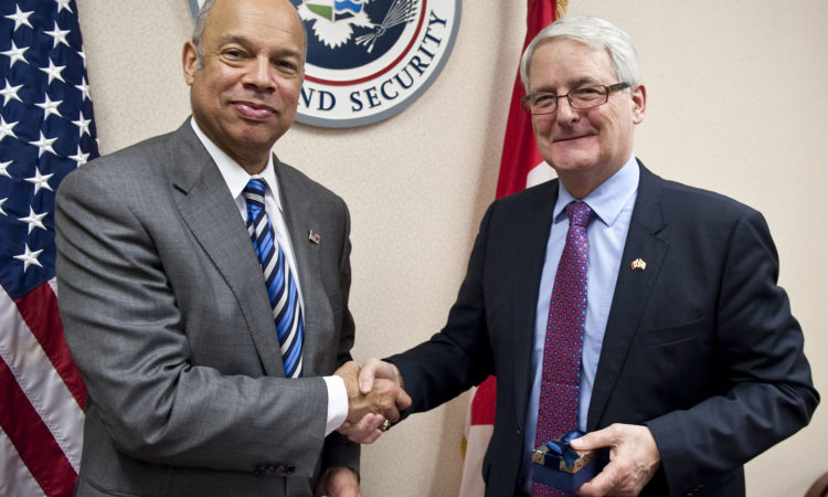 DHS Secretary Johnson Welcomes Canadian Transport Minister Garneau to Washington. (Official U.S. Department of Homeland Security Photo by Barry Bahler)