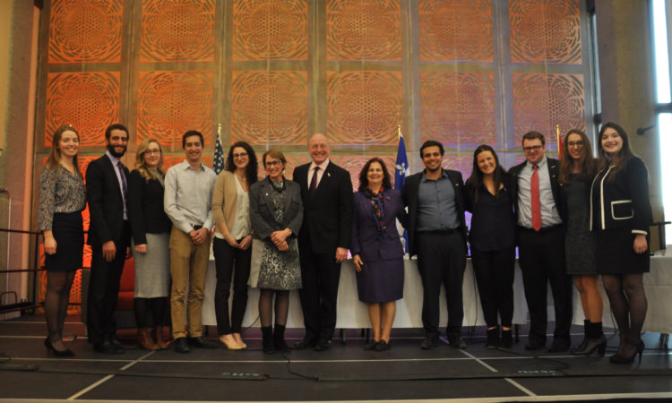 Ambassador Heyman with McGill University students. (Credit US Consulate Montreal)