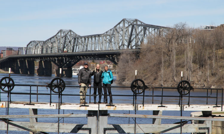 Ambassador Bruce Heyman, Secretary of the Interior Sally Jewell and Canadian Minister of Environment and Climate Change Catherine McKenna atop the Rideau Canal locks. (Credit US Embassy Ottawa)