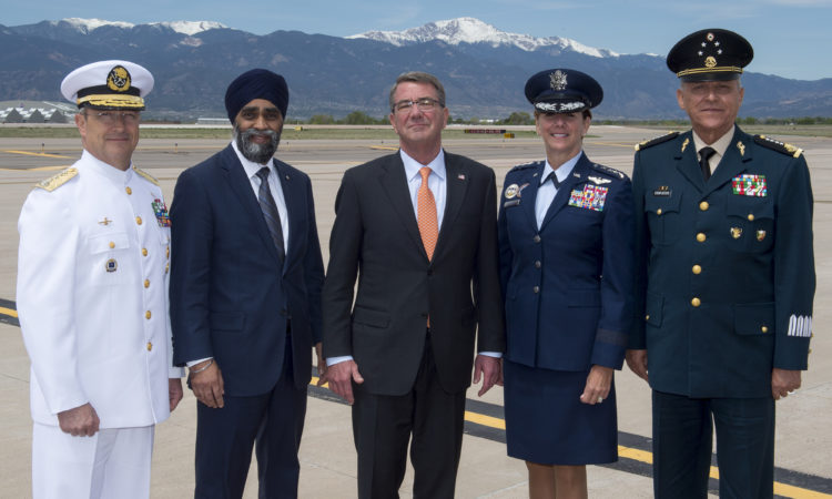 From left: Mexican Naval Secretary Adm. Vidal Francisco Soberon Sanz; Canadian Minister of Defence Harjit Sajjan; Defense Secretary Ash Carter; General Lori Robinson; Mexican Defense Secretary Gen. Salvador Cienfuegos Zepeda. (DoD photos by Air Force Senior Master Sgt. Adrian Cadiz and Navy Petty Officer 2nd Class Dominique A. Pineiro)