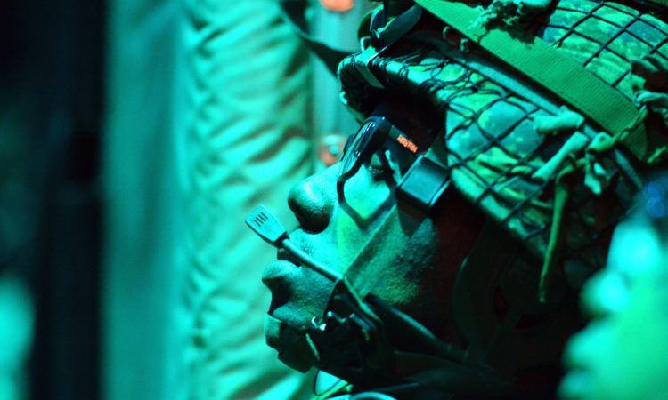 A Soldier with 3rd Battalion Princess Patricia's Canadian Light Infantry rests aboard a C-130 aircraft on its way to Canadian Forces Base Cold Lake, where 3rd Battalion Soldiers will board American helicopters and assault nearby enemy positions throughout the night as part of Exercise Maple Resolve, May 27, 2016. The operation utilized both Canadian and American aircraft in order to demonstrate 3rd Battalion's ability to project force across great distances (U.S. Army Sgt. William A. Parsons, 214th Mobile Public Affairs detachment)(Released)