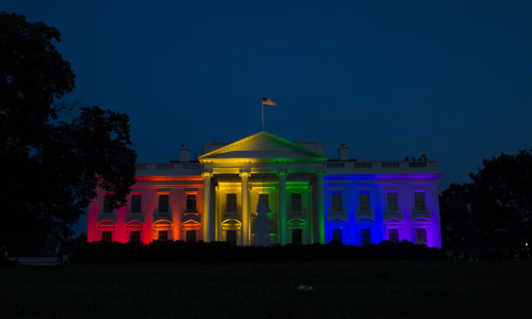 The White House is lit up in rainbow colors in commemoration of the Supreme Court's ruling to legalize same-sex marriage. Friday, June 26, 2015, in Washington. (AP Photo/Evan Vucci)
