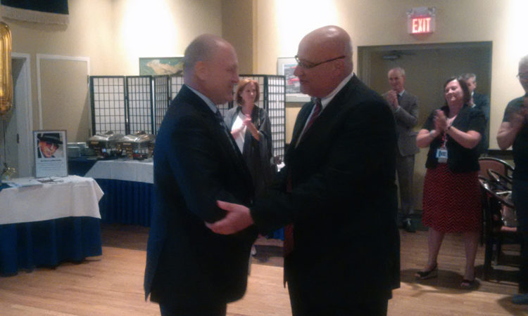 Ambassador Heyman bids farewell to the Regulatory Cooperation Council's Bob Carberry. Credit Government of Canada.