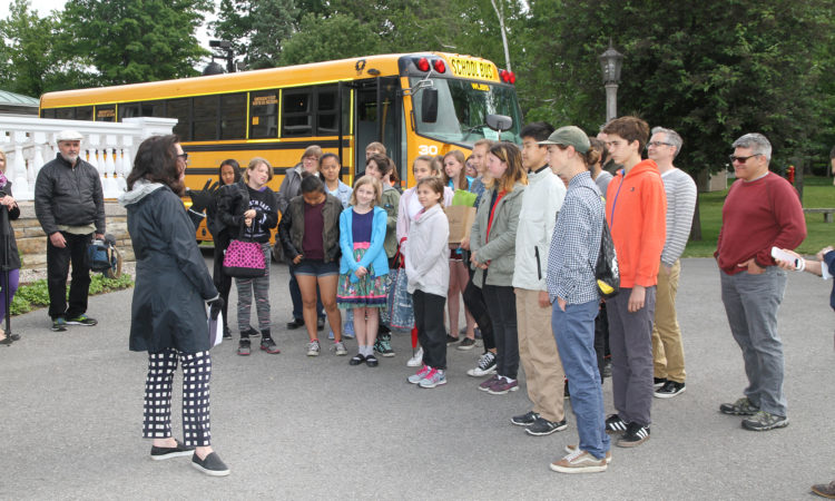 Vicki Heyman welcomes students from Fisher Park's Eco Club and Community Helpers group to Lornado. Credit US Embassy Ottawa.