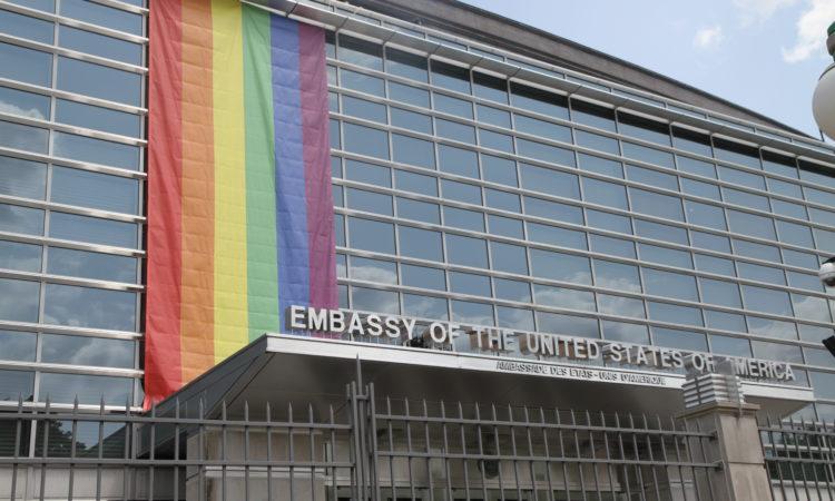 U.S. Embassy Ottawa flies the Pride Flag in support of Capital Pride Week. Credit US Embassy Ottawa.
