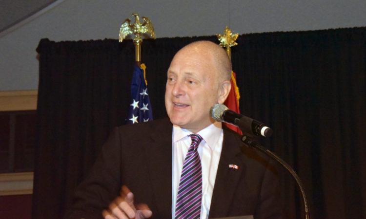 Ambassador Heyman addresses the Ohio State University US-Canada SAGE Summit. Credit SAGE.