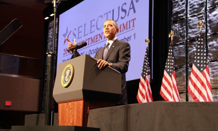President Barack Obama delivered keynote remarks at the SelectUSA 2013 Investment Summit. (Credit International Trade Administration)