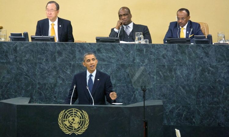 President Barack Obama delivers remarks during his address to the United Nations General Assembly in New York, N.Y., Sept. 23, 2013. (Official White House Photo by Amanda Lucidon)
