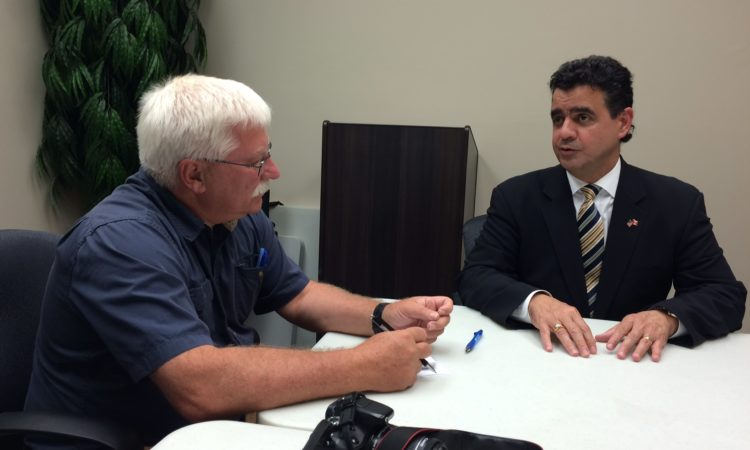 Toronto CG Juan Alsace being interviewed. (Credit US Consulate Toronto)