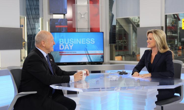 Ambassador Bruce Heyman being interviewed on BNN. (Credit US Consulate Toronto)