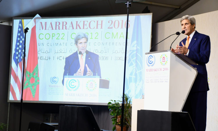 U.S. Secretary of State John Kerry delivers remarks at the 22nd UN Framework Convention on Climate Change Conference of Parties (COP22) in Marrakech, Morocco, on November 16, 2016. [State Department photo/ Public Domain]