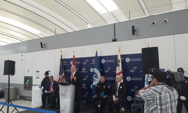 United States Ambassador to Canada Bruce Heyman speaking about the NEXUS program during the ribbon cutting ceremony marking the completion of a two-year Toronto Pearson International Airport collaborative Security in Advance project on July 19, 2016. (Credit Toronto Pearson International Airport/Twitter)
