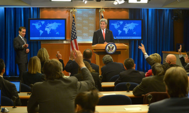 U.S. Secretary of State John Kerry holds a press conference at the U.S. Department of State in Washington, D.C., on January 5, 2017. [State Department photo/ Public Domain]