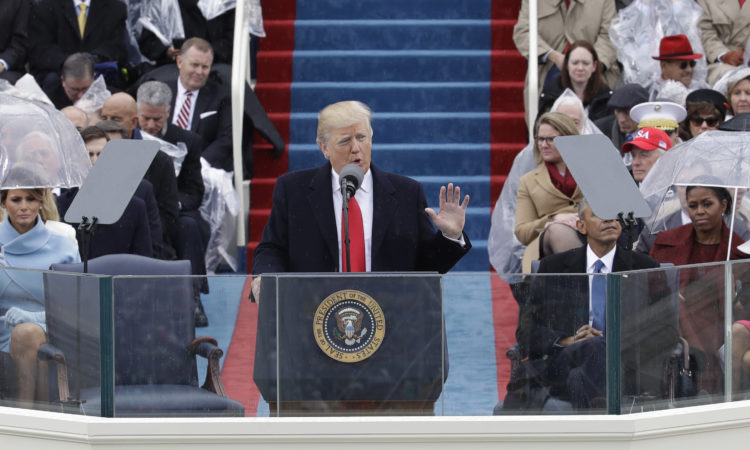 President Donald Trump delivers his inaugural address after being sworn in as the 45th president of the United States during the 58th Presidential Inauguration at the U.S. Capitol in Washington, Friday, Jan. 20, 2017. (AP Photo/Patrick Semansky)