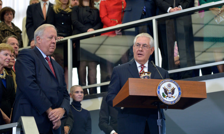 U.S. Secretary of State Rex Tillerson delivers welcome remarks to State Department employees in the main lobby of the Department's Harry S. Truman building on his first day as Secretary of State in Washington, D.C., on February 2, 2017. [State Department photo/ Public Domain]