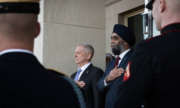 Secretary Mattis welcomes Canadian Minister of National Defence Harjit Sajjan.