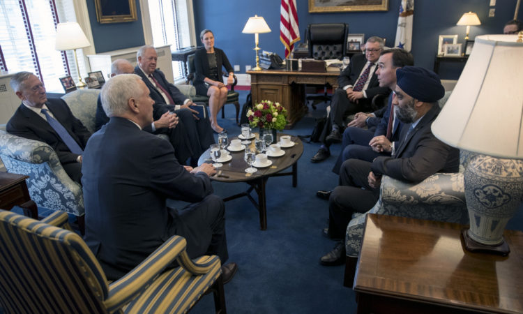 Vice President Mike Pence, Secretary of Defense James Mattis, Secretary of Homeland Security John Kelly, and Acting Deputy Secretary of State Tom Shannon meet with Minister of Public Safety Ralph Goodale, Minister of Finance William Morneau, Minister of Transport Marc Garneau, and Minister of National Defence Harjit Sajjan.