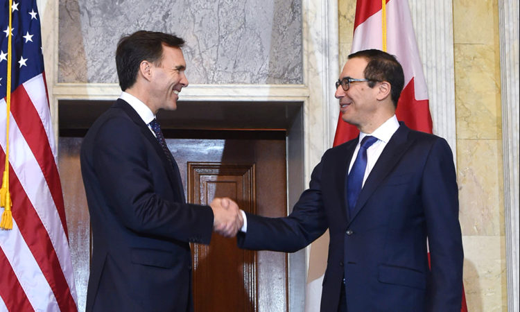 Treasury Secretary Steven Mnuchin meets with Canadian Minister of Finance Bill Morneau. Photo Credit: U.S. Department of the Treasury Photographer