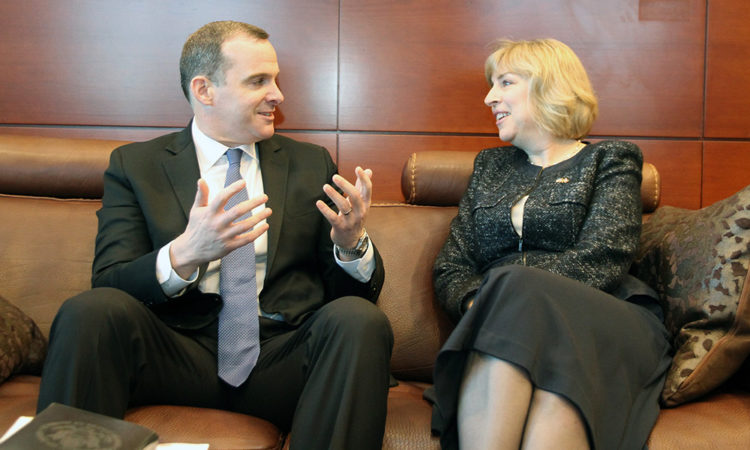 Special Presidential Envoy for the Global Coalition to Counter ISIS Brett McGurk meets with Chargé d'affaires Elizabeth Aubin. Credit US Embassy Ottawa.