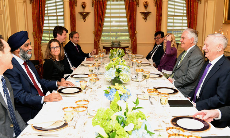 U.S. Secretary of State Rex W. Tillerson hosts a working dinner with U.S. Secretary of Defense James Mattis for Canadian Foreign Minister Chrystia Freeland and Canadian Defense Minister Harjit Sajjan, at the Department of State in Washington, D.C., May 15, 2017. [State Department photo/ Public Domain]