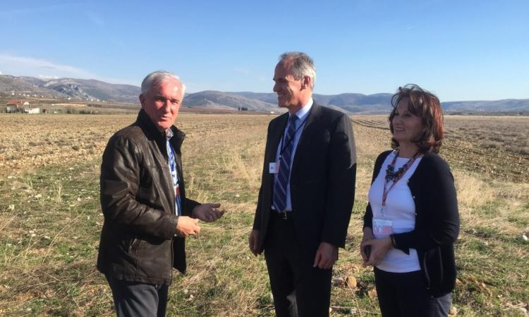 Pictured: DCM Horowitz at the company's lavender and immortelle plantations with Mira Ahmić and Željko Pivić of Arome