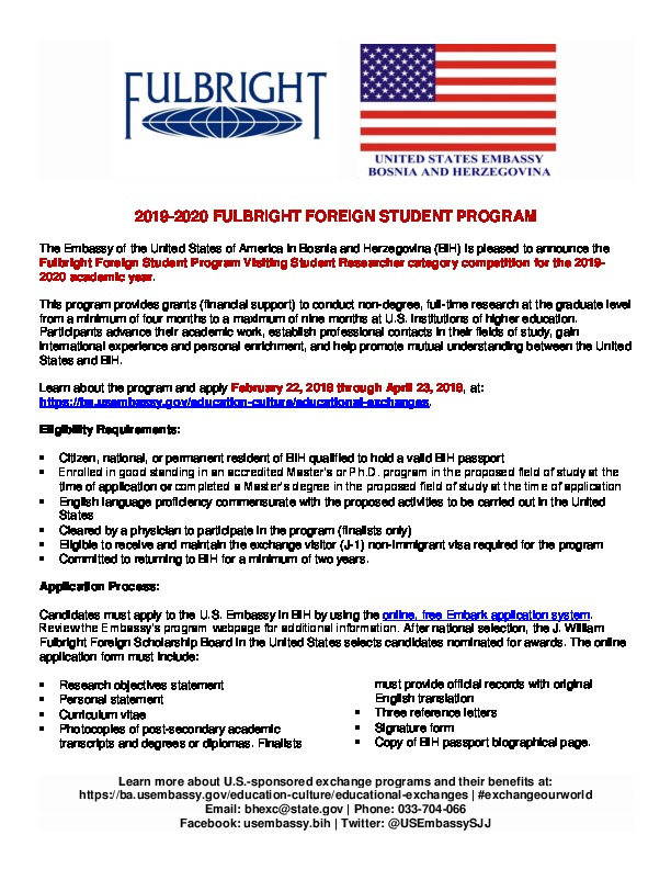 2019-2020 Fulbright Foreign Student Program Flyer   U S  Embassy in