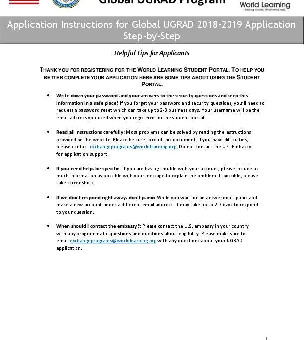 Step-by-Step Global UGRAD Application Instructions | U S