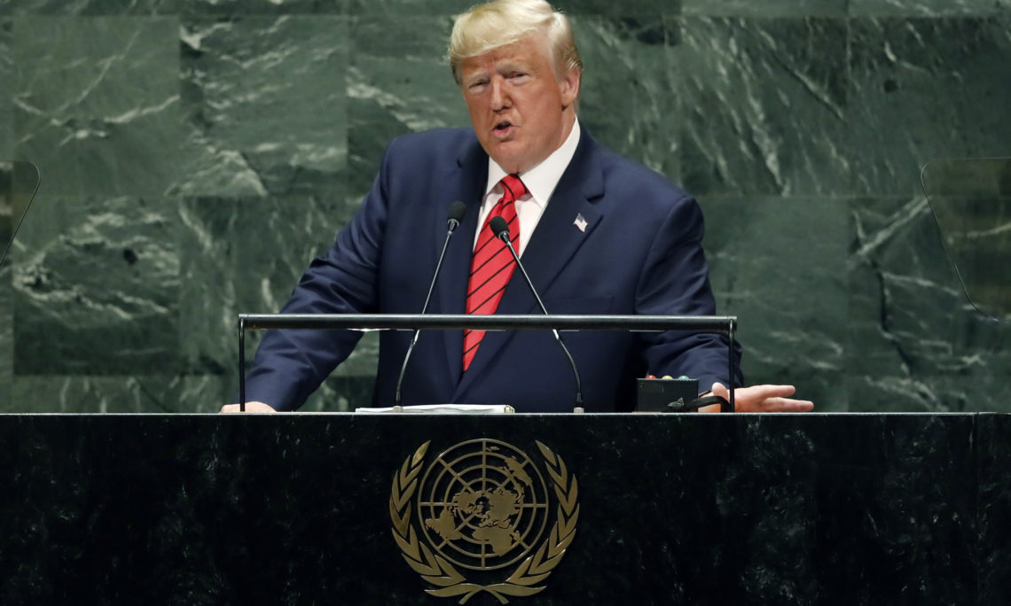 President Donald Trump addresses the 74th session of the United Nations General Assembly, September 24, 2019. (AP Photo/Richard Drew)