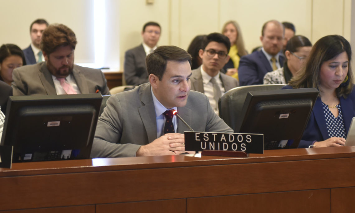 Ambassador Carlos Trujillo, Permanent Representative of the United States to the Organization of American States addresses, the Permanent Council. (OAS Photo)