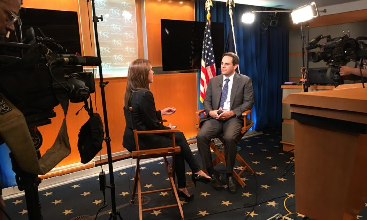 "Ambassador Carlos Trujillo was interviewed by VOA for the program ""Venezuela 360̊."", October 18, 2019."