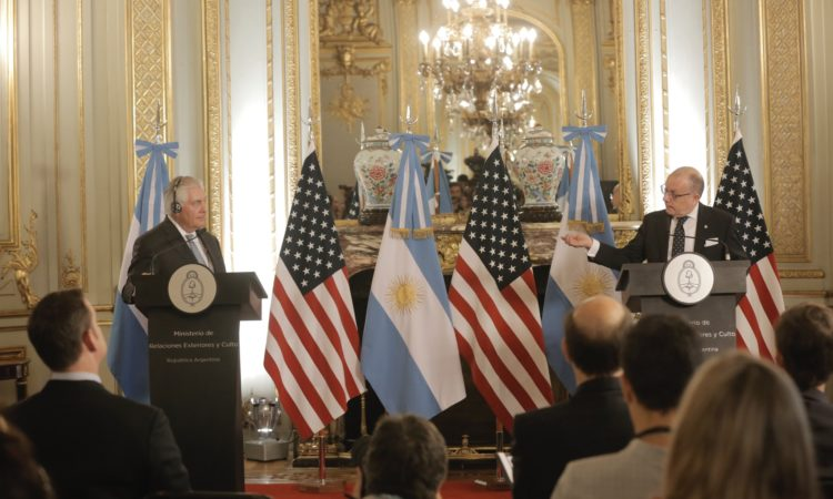 U.S. Secretary of State Rex Tillerson participates in a joint press conference with Argentine Foreign Minister Jorge Faurie in Buenos Aires, Argentina on February 4, 2018. [State Department photo/ Public Domain]