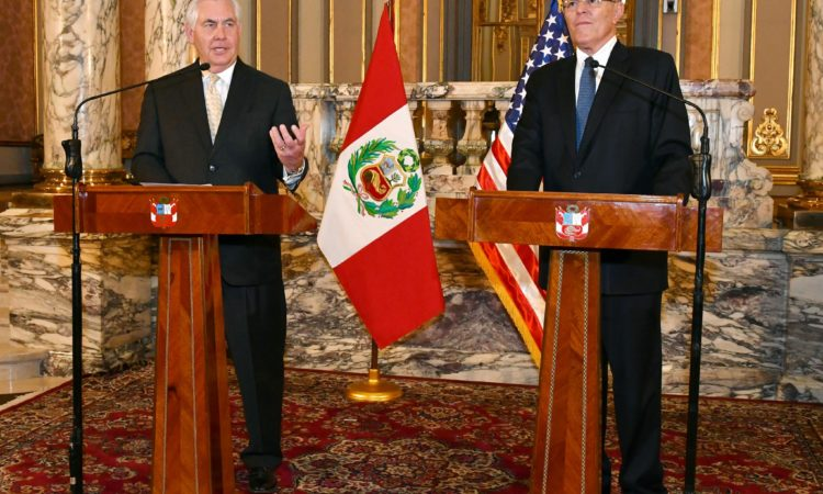 U.S. Secretary of State Rex Tillerson participates in a joint press conference with Peruvian President Pedro Pablo Kuczynski in Lima, Peru, on February 6, 2018. [State Department photo/ Public Domain]