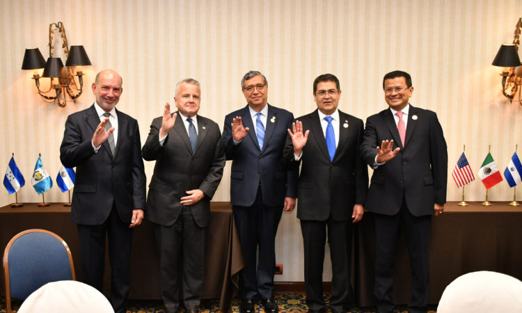 Acting Secretary of State John Sullivan poses for a photo with Mexican Under Secretary for Latin America and the Caribbean, Luis Alfonso de Alba, Vice President of Guatemala Jafeth Cabrera, President of Honduras Juan Orlando Hernandez, and Foreign Minister of El Salvador Hugo Martinez in Lima, Peru on April 13, 2018. [State Department photo/ Public Domain]