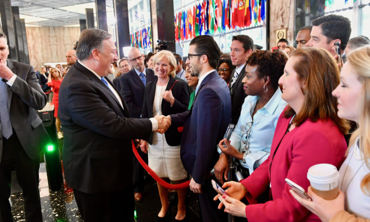 U.S. Secretary of State Mike Pompeo greets State Department employees upon arrival to the U.S. Department of State in Washington, D.C., on May 1, 2018. [State Department photo/ Public Domain]