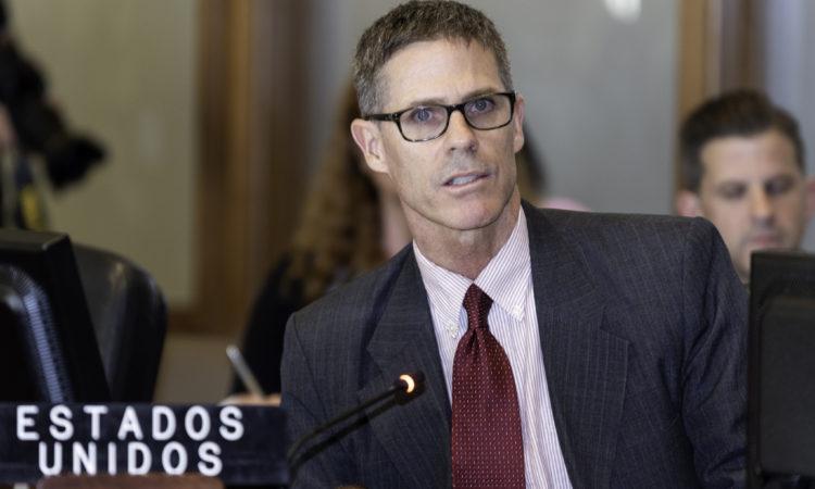 Alexis Ludwig, Deputy U.S. Permanent Representative, addresses the OAS special meeting on the Venezuela migration crisis, September 5, 2018. (OAS Photo)