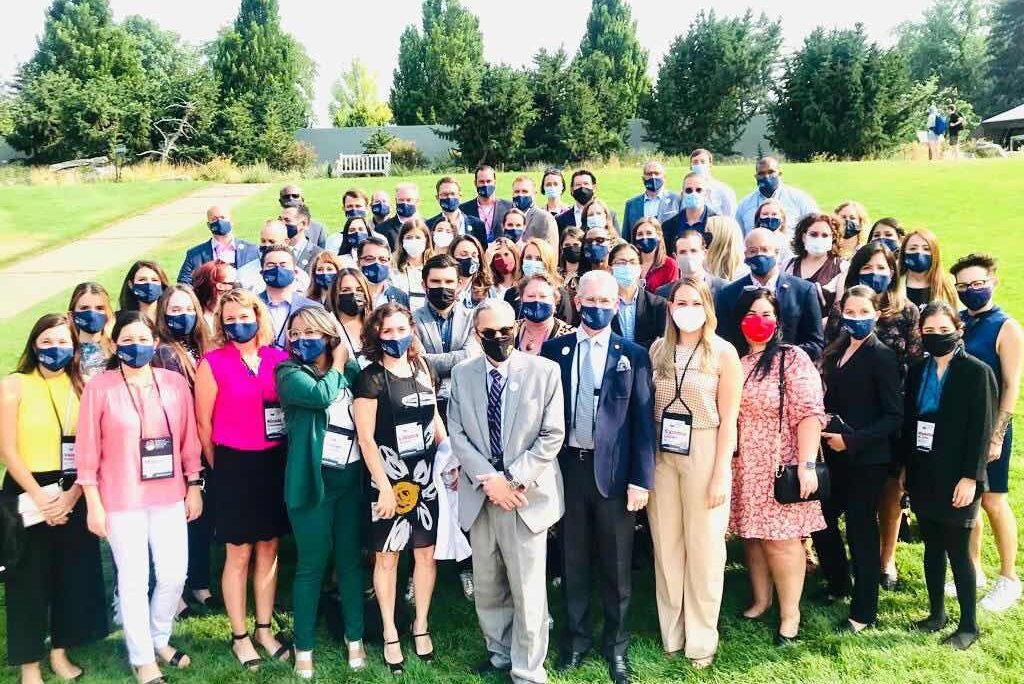 Interim U.S. Permanent Representative Bradley A. Freden, and USOAS Deputy Development Counselor Julianna Aynes-Neville, join the participants of the Americas Competitiveness Exchange (ACE) Colorado, in Denver, August 1, 2021.