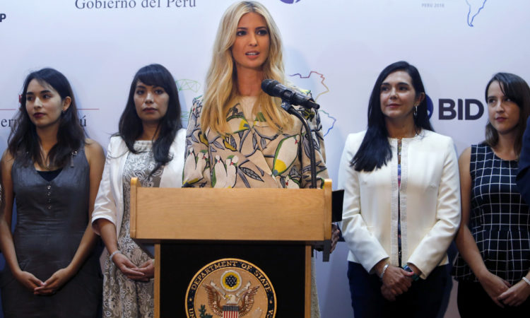 Ivanka Trump, daughter of U.S. President Donald Trump, speaks during a press conference in Lima, Peru, Friday, April 13, 2018. (AP Photo/Karel Navarro)