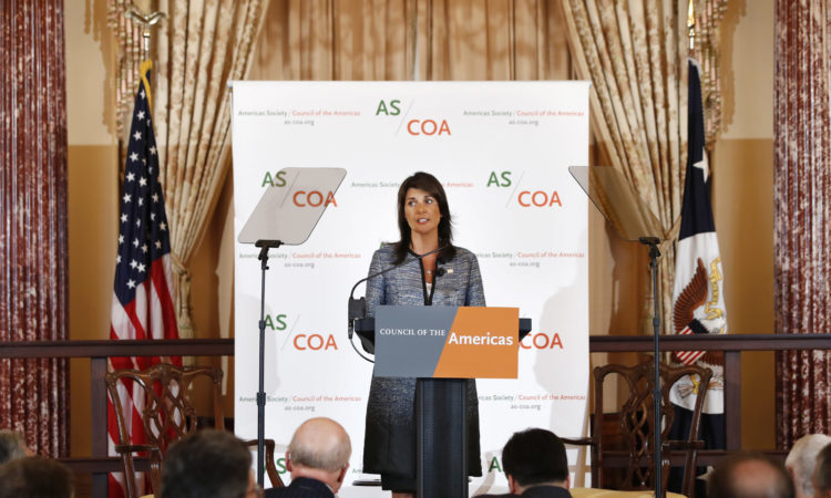 Ambassador to the United Nations Nikki Haley speaks about Venezuela to the Council of the Americas, during a luncheon at the State Department in Washington, Tuesday, May 8, 2018. (AP Photo/Jacquelyn Martin)