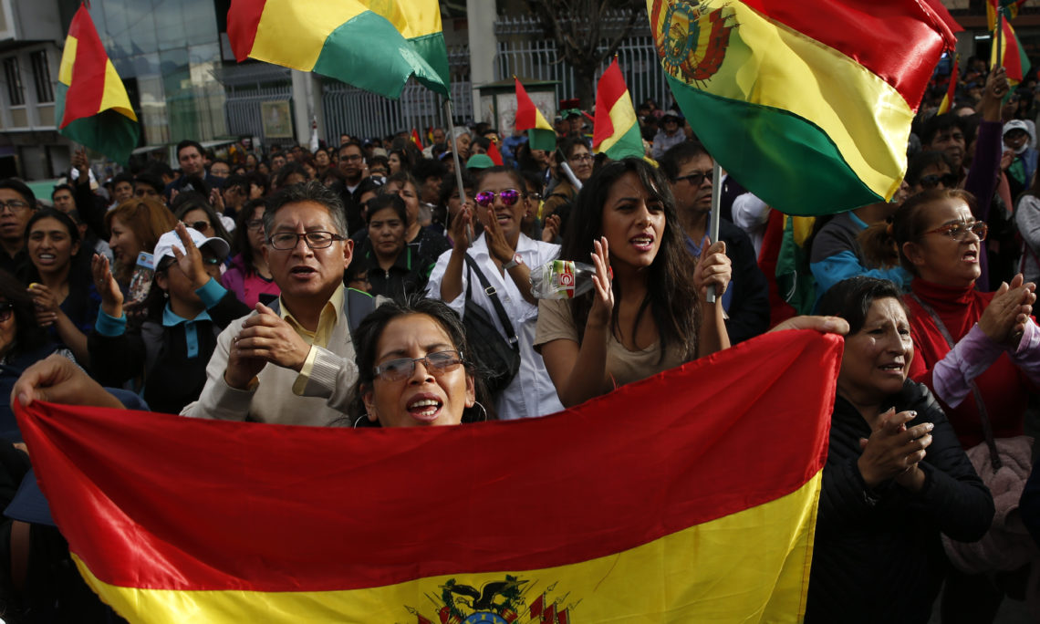 Anti-government protesters march against President Evo Morales, in La Paz, Bolivia, October 29, 2019. (AP Photo/Juan Karita)
